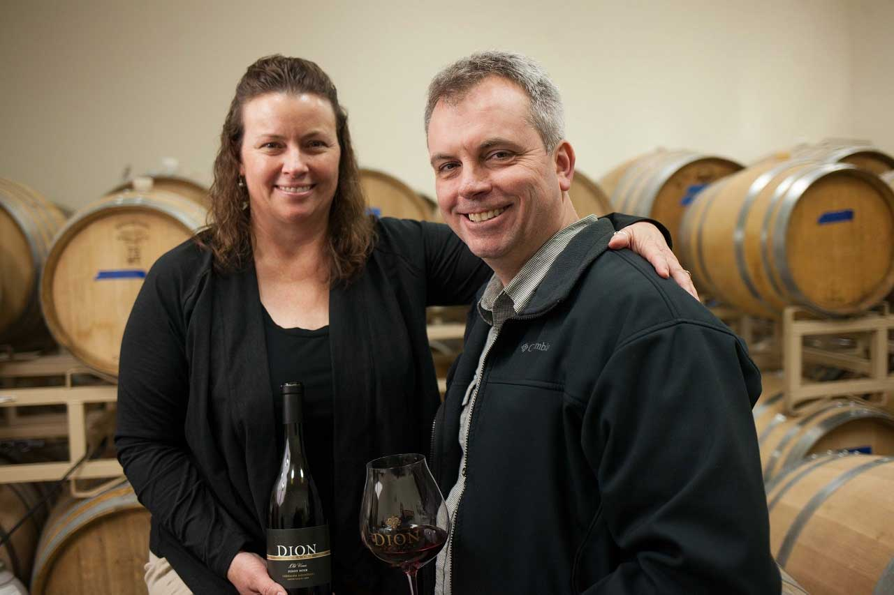 Kevin Johnson and Beth Klingner of Dion Vineyard in Cornelius, OR in the Tualatin Valley
