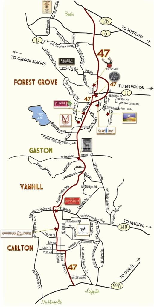 Vineyards Oregon - Sip 47 Map